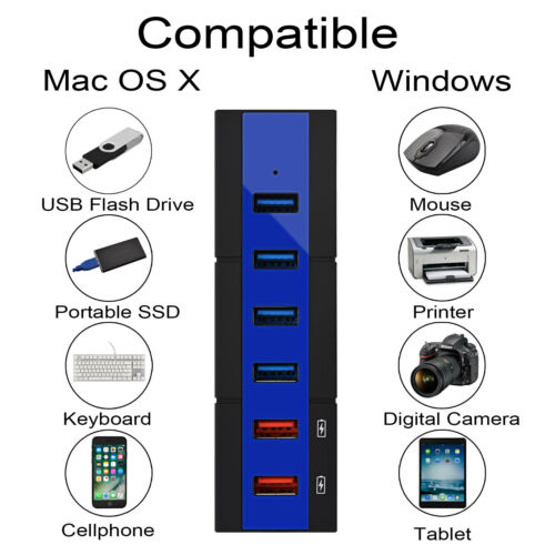 24W 6-Port USB 3.0 Hub Power Extension Adapter Divider for PC Laptop Mac