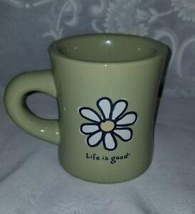 Life-is-Good-Cup-Mug-Do-what-you-like-Green-Coffee-Tea-Stoneware-Daisy