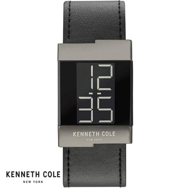 Kenneth Cole KCC0168002 Digital schwarz Leder Armband Uhr Herren NEU