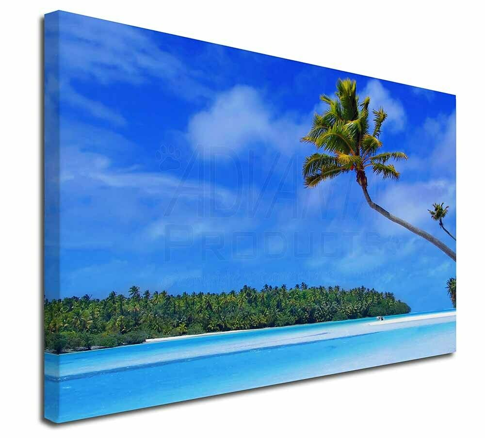 Tropical Paradise Beach 30 x20  Wall Art Canvas, Extra Large Picture , W-6-C3020