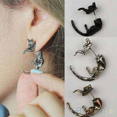 1pc/2pcs Punk Gothic Long Tail Small Fox Puncture Womens Men Stud Earrings B52U
