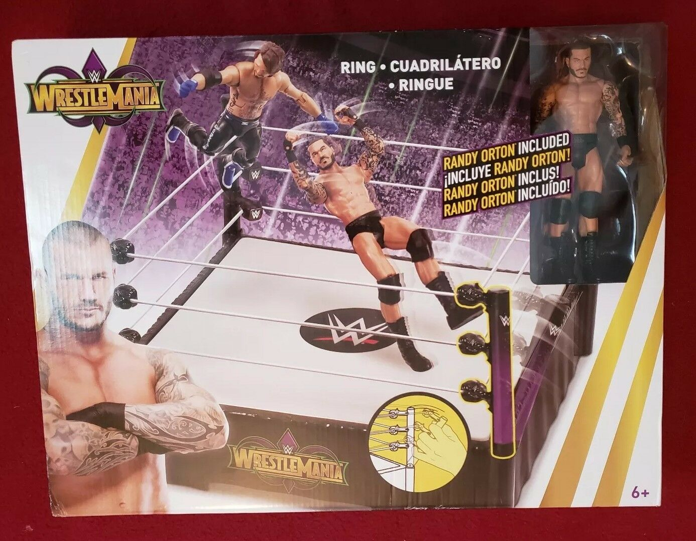2017 WWE Mattel Wrestlemania 34 Playset Ring W/ Randy Orton Figure MISB