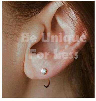Classy Huggie Diamante Tragus Helix Hoop Cartilage Stud Small Nose