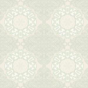 Wallpaper-Designer-Pale-Green-Scroll-Medallion-on-Pearlized-Cream