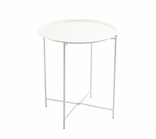 Finnhomy Small Round Side End Table Metal Snack Table Wint Green Sofa Table Anti-Rusty Outdoor and Indoor Use for Putting Small Things Tray Side Table