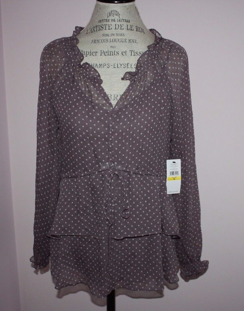 NWT damen  Cynthia Steffe Long-Sleeve Penny Lilac Silk Blouse Größe Medium