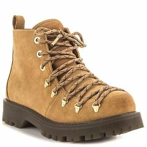 920bf464ab09 Circus by Sam Edelman Kane Camel Brown Lace Up Combat Suede Ankle ...