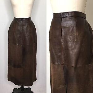 Vintage-80s-Banana-Republic-Leather-Midi-Skirt-Size-Medium