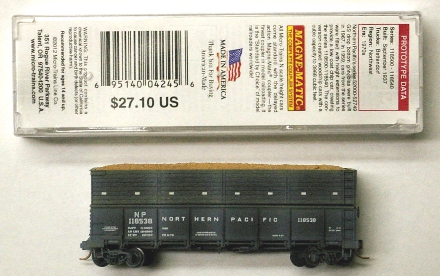 MTL Micro-i treni 84050 Northern Pacific NP 118538 FW Factory Weatherosso