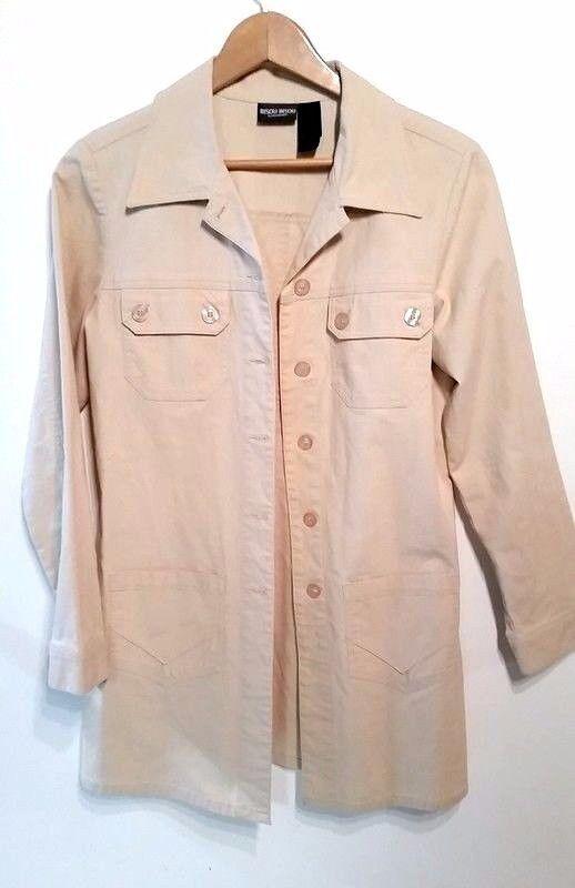 Bisou Bisou womens 10 button front long beige fall coat jacket