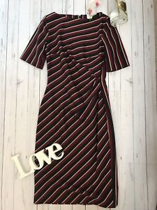 Max Mara Weekend UK 12 grey red striped fitted work office business career dress