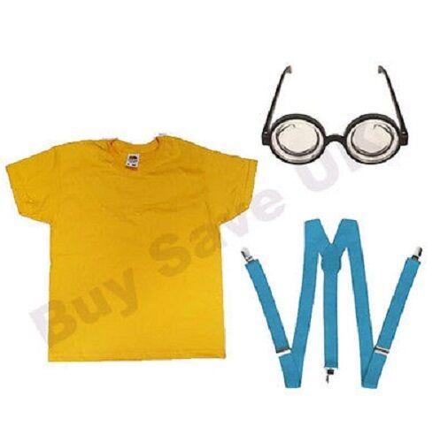 Childrens CATTIVISSIMO ME t shirt Bretelle /& Occhiali Costume Minion