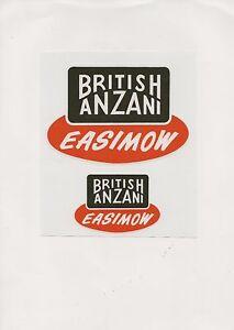 British Anzani Easimow Vintage Ride On Mower Repro Decals