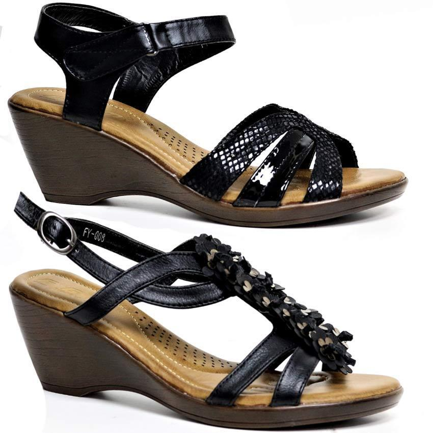 LADIES WEDGE SUMMER SANDALS WOMENS HEELS STRAPPY SUMMER WEDGE DRESS PARTY GLADIATOR SHOES SIZ 6c4a05