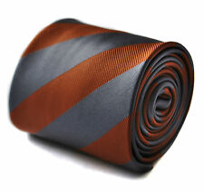 Frederick Thomas Silver Grey & Chocolate Brown Striped Mens Tie FT1713 RRP£19.99