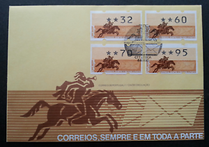 SJ-Portugal-Horse-Rider-1990-ATM-frama-label-stamp-FDC