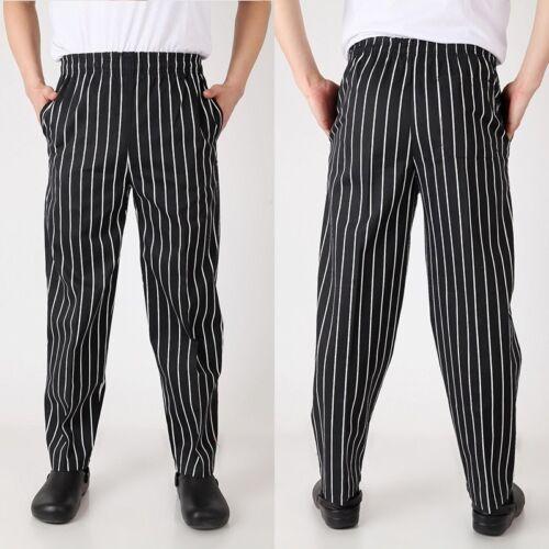 Unisex Men Loose Baggy Chef Pants Restaurant Cook Uniform Trousers Elastic Waist