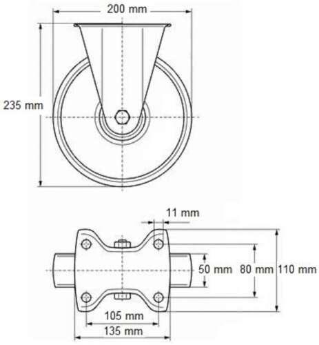 4 St 200 mm SL Rollen Bockrollen Laufrollen Transportrollen Blue Wheels Wheel
