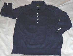 EDDIE BAUER Women's Small Blue Stretch Cotton 3/4 Sleeve Button Polo Shirt EUC