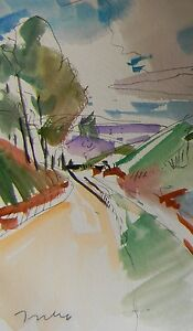 JOSE-TRUJILLO-ORIGINAL-Watercolor-Painting-IMPRESSIONISM-TRAIL-PATH-WOODS-SIGNED