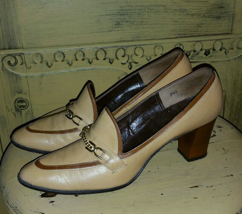VINTAGE MCCOLLUM FERRELL 50'S LEATHER HORSEBIT HEELS DRESS SHOES PUMPS 7.5 8 N