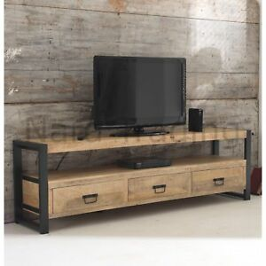 Harbour Indian Reclaimed Wood And Metal Furniture Extra Large Tv