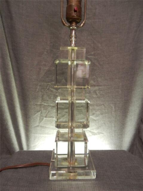 Vtg Art Deco Large Stacked Crystal Cube Desk Table Lamp W Crystal