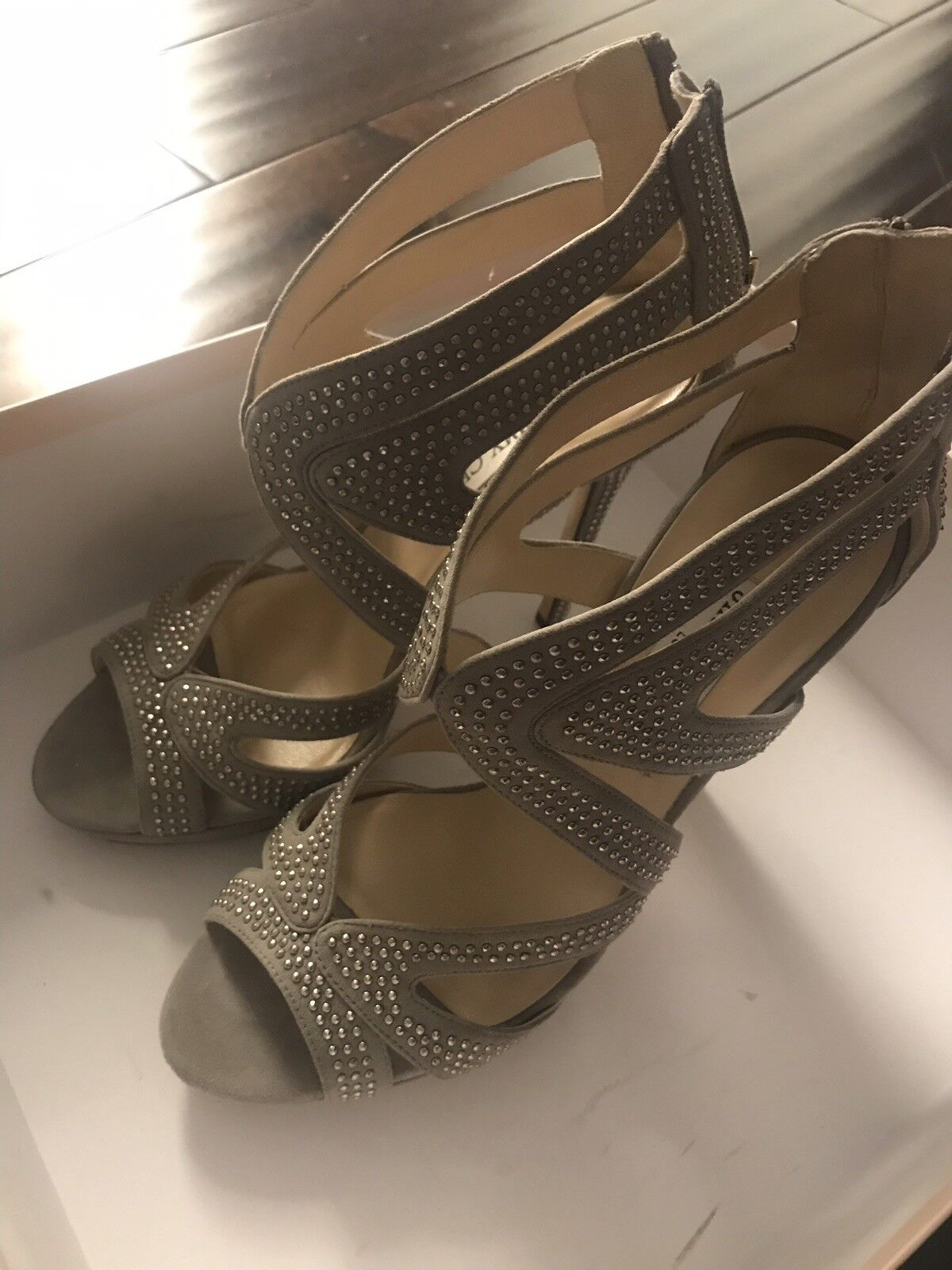 Jimmy Choo Womens Silver Leather Studded Strappy High Heel Sandals SZ 38 US 8