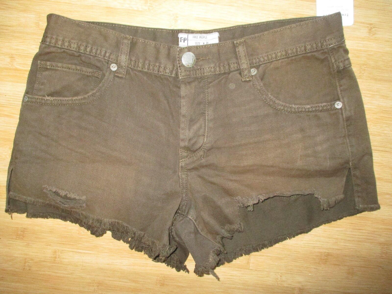 NWT Free People LADIES 28 JEAN DENIM Shorts PANTS Distressed Cut Offs Brown