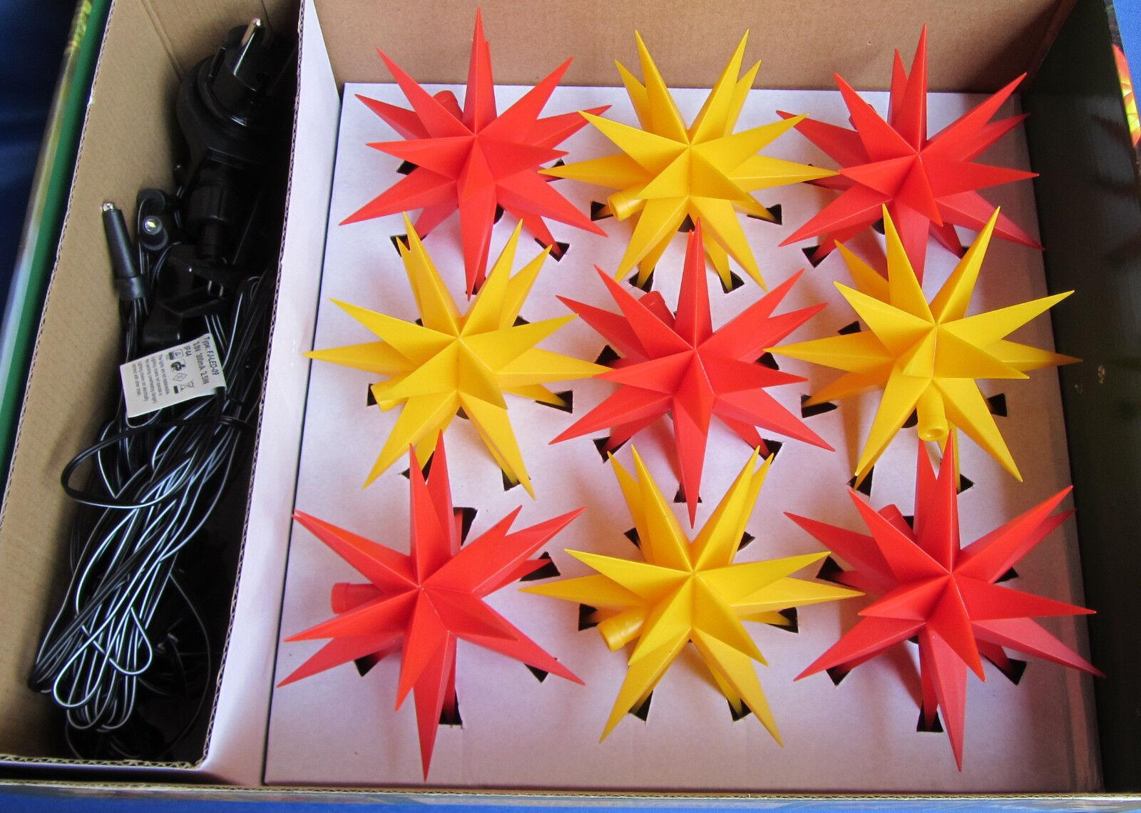 9er CHAÎNE DEL étoiles CHAÎNE 9er ROUGE/JAUNE Noël petite étoile-Chaîne Guirlande lumineuse extérieur 2d4443