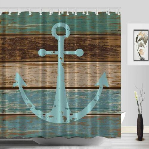 Nautical Anchor Shower Curtain Blue Wooden Dock Waterproof Fabric Bath Decor