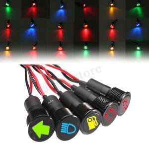 2x 12V 8mm Panel Indikator Lampe Kontrolllampe Licht BLAU//GRÜN//ROT LED LKW