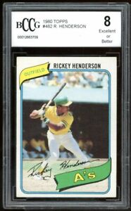 1980 Topps #482 Rickey Henderson Rookie Card BGS BCCG 8 Excellent+