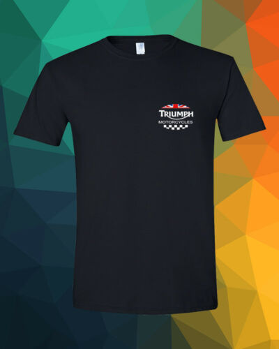 TRIUMPH Pocket Design MOTORCYCLES UK Flag Classic Street Black T-Shirt S 3XL