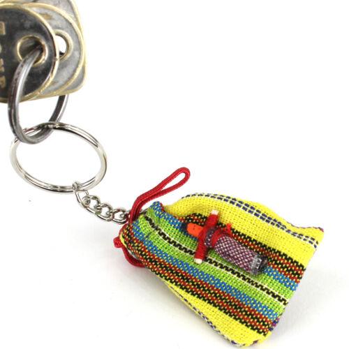 "Guatemalan Worry Doll Keyring Genuine Handmade Mayan Fair Trade 1/"" Doll on Bag"