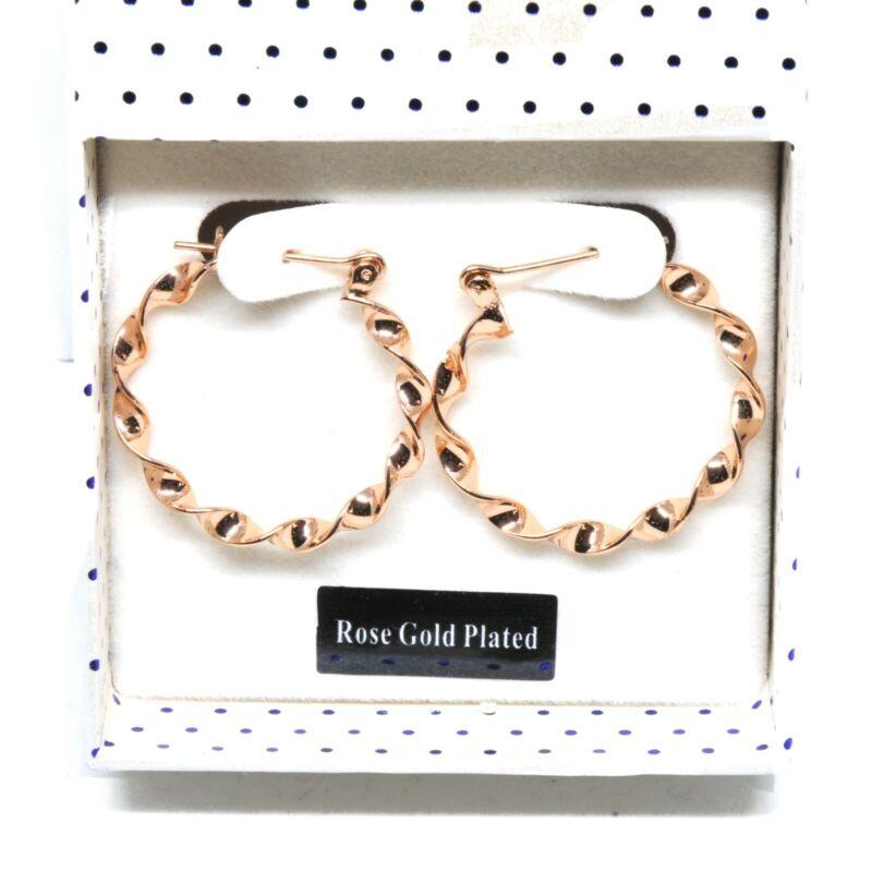 Rose Gold Plated Twisty Hoop Earrings 2.5cm Diameter In Gift Box