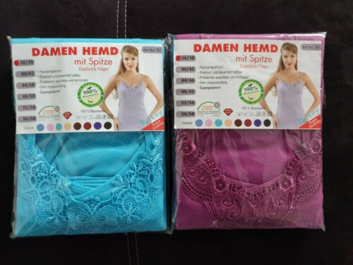 2-er Pack Frauen Unterhemden Baumwolle Damen Unterwäsche mit Spitze Farbig