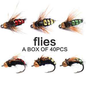 40pcs-Flies-Beaded-Fly-Fishing-Dry-Flies-Bead-head-Bass-Trout-Lures-Hook-amp-Box