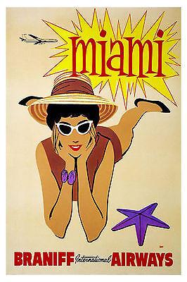 MIAMI, FLORIDA ..Braniff Airways Vintage Art Deco Travel Poster A1A2A3A4Sizes