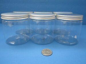 8-oz-Qty-6-King-PET-Clear-Plastic-Jars-w-Silver-Caps-Lids-Creams-Crafts-BPA-Free