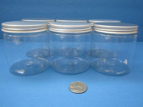 8 oz Qty 12 King PET Clear Plastic Jars w Silver Caps Lids Cream Crafts BPA Free