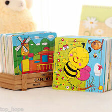 DIY Wooden Cartoon Animals Puzzle Jigsaw Baby Kids Training Education Toy Gift