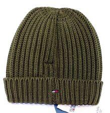 Tommy Hilfiger Denim Elliston Oversize Beanie Hat Cotton Blend Olive UNISEX NEW