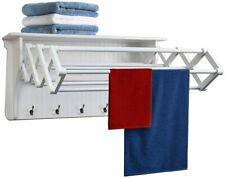 Danya B Accordion Clothes Drying Rack, Retractable, Wall Mounted, White