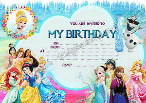 Image Is Loading Disney Princess Frozen Birthday Party Invitations Pack 8
