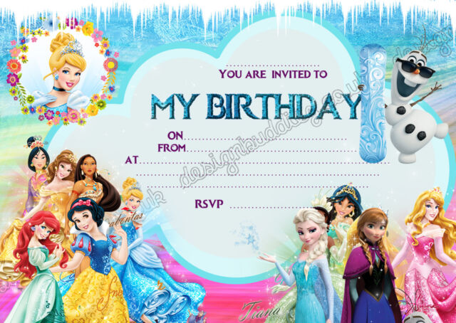 Disney Princess Frozen Birthday Party Invitations Pack 8 Thick Cards