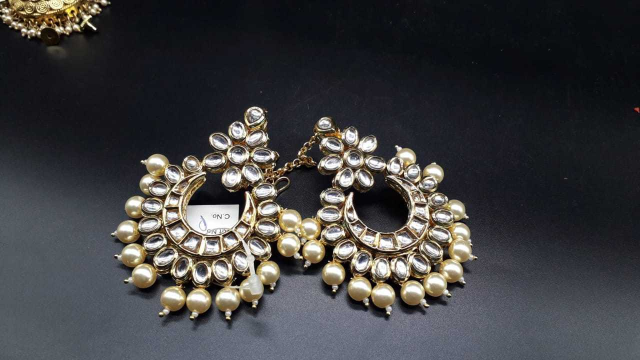 Traditional Indian Kundan PEARL Earring Set gold Plated Ethnic Bridal  Wedding