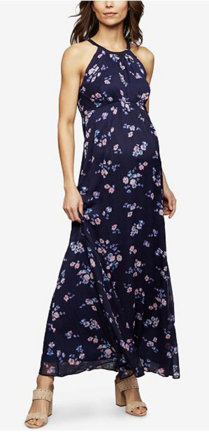 A Pea In the Pod Maternity Navy Floral Print Sleeveless Maxi Dress Retail 158 M