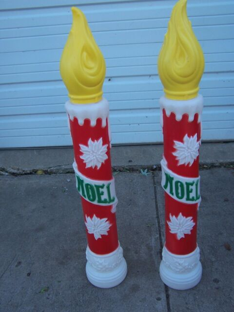 "CHRISTMAS YARD LAWN DECORATION BLOW MOLD CANDLES 39"" PLASTIC LIGHT UP NOEL"