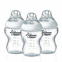 Tommee Tippee 3 Bottles 9oz Baby Infant Toddler Breast Milk Feeding Nipple Jar on sale